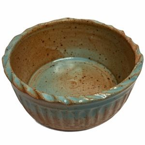 """Boho Studio Pottery Ridged Speckled Stoneware Bowl Light Blue and Brown/Tan 4.5"""""""